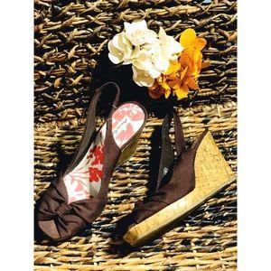 AE canvas & cork style wedges bow strap dark brown